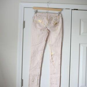 Vanilla Star Jeans - Vanilla Star pink gold splatter skinny jeans